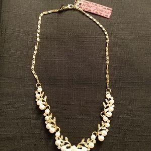 Betsey Johnson simulated pearl & diamond necklace